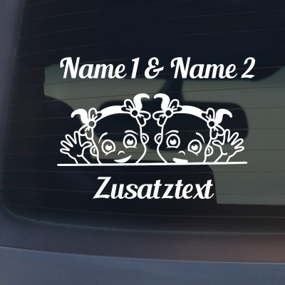 """Babyaufkleber """"Anna&Marie"""" mit Wunschname"""