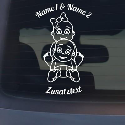 "Babyaufkleber ""Luis&Lina"" mit Wunschname"