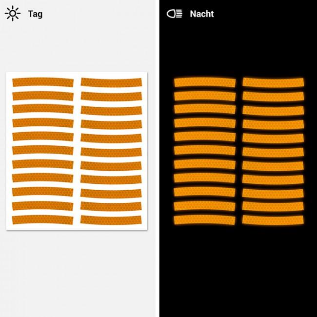 Reflektor Aufkleber Set Mit Wabenmuster 10mm Für Mountainbike Orange