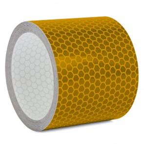 Reflektorband mit Wabenmuster 5cm breit - Gelb