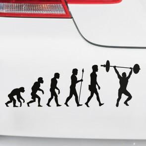 Autoaufkleber Evolution Gewichtheben