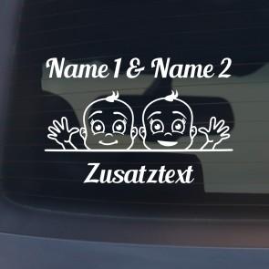 """Babyaufkleber """"Tim&Max"""" mit Wunschname"""